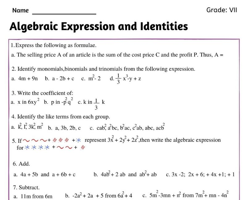 Algebraic Expressions Worksheet For Class 7 Witknowlearn
