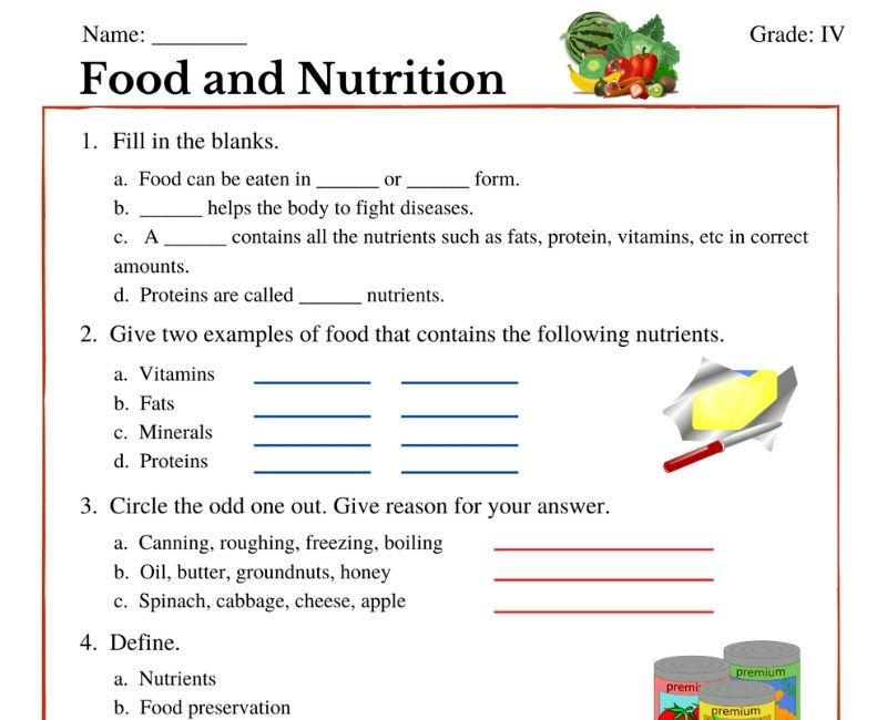 Food And Nutrition Class 4 Worksheets Witknowlearn