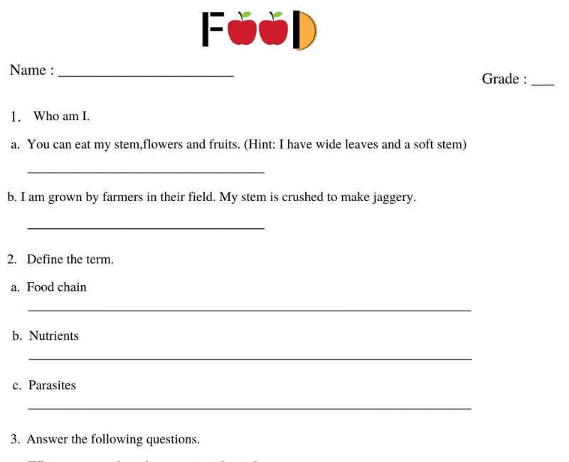 Sources Of Food Class 6 Worksheet Witknowlearn