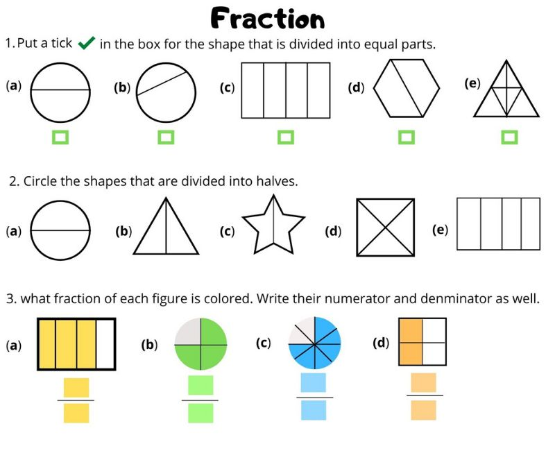 Fraction Worksheet For Grade 3 Witknowlearn
