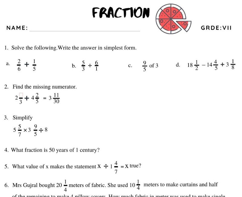 Fractions Worksheet For Grade 7 Witknowlearn