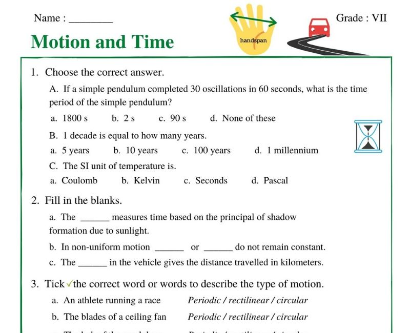 Motion And Time Class 7 Worksheet Witknowlearn