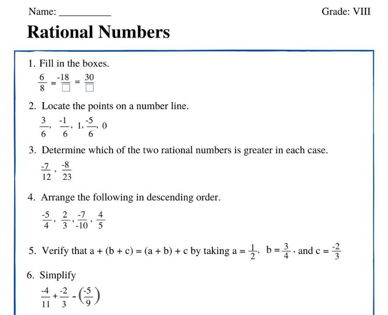 Rational Numbers Class 8 Worksheet