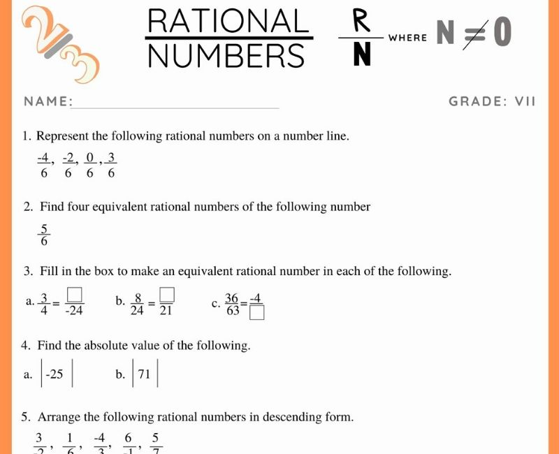 Rational Numbers Worksheet For Class 7 Witknowlearn